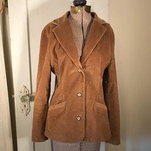 L.L. Bean corduroy blazer jacket tan beige sz 10